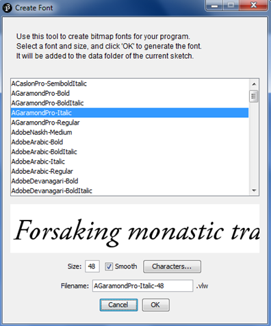 Processing Create Font