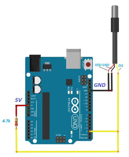 DS18B20 Arduino hardware