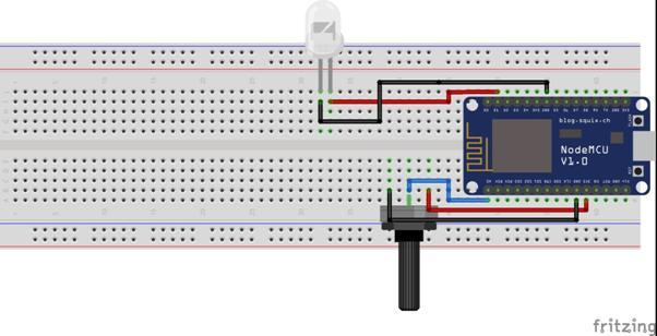Rangkaian Lampu LED dan Potensiometer ESP8266 NodeMCU
