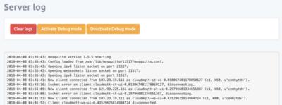 CloudMQTT Server Log