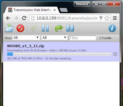 mendownload NOOBS menggunakan Transmission