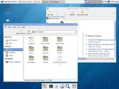 Tampilan desktop dari Pidora