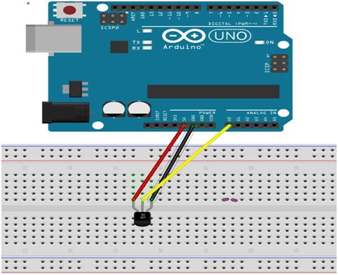 Rangkaian Sensor Suhu LM35 Arduino