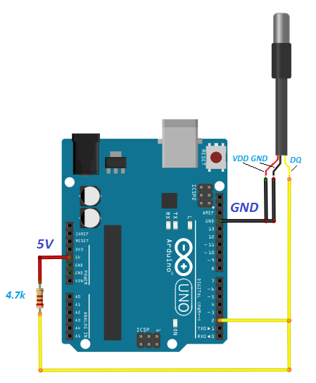 DS18B20 Arduino hardware