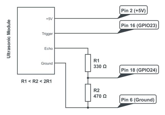 HC-SR04 Raspberry Pi Wiring & Voltage Divider