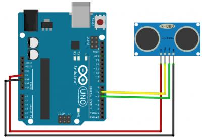 rangkaian arduino sensor jarak