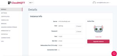 CloudMQTT Instance Info