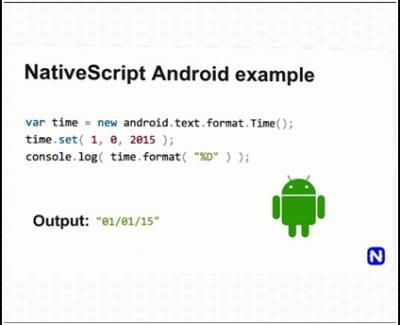Contoh kode NativeScript untuk Android.