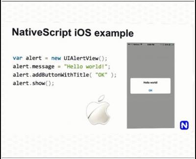Contoh kode NativeScript untuk iOS.