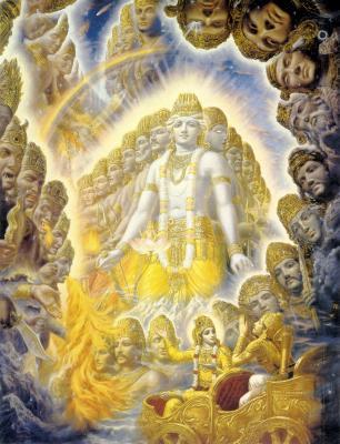 Universal-form-ISKCON-Painting_Sri Krsna Menunjukan Bentuk IlahiNya Kepada Arjuna